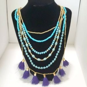 INC Multi Strand Boho Necklace Tassels NEW Blue